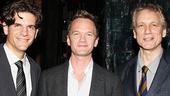 Neil Patrick Harris greets two men he'll see again on Tony night: co-director Alex Timbers and scribe Rick Elice, both whom are nominated for their work on Peter and the Starcatcher.
