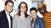 Steven Pasquale, Idina Menzel and Taye Diggs look delighted to meet director Pam MacKinnon after seeing her Tony-nominated work on this celebrated play. 