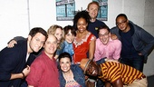 Group shot! Steven Pasquale, Idina Menzel and Taye Diggs congratulate Clybourne stars Frank Wood, Christina Kirk, Annie Parisse, Crystal A. Dickinson, Brendan Griffin, Tony nominee Jeremy Shamos and Damon Gupton.