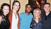 Katrina Lenk, Reeve Carney, Rebecca Faulkenberry and Patrick Page flank American Idol's Joshua Ledet backstage at the Foxwoods Theatre.