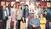 Kelli O'Hara is overjoyed to have her Nice Work pals by her side! From left: Estelle Parsons, Stanley Wayne Mathis, Kaitlyn Davidson, Joey Sorge, Jennifer Smith, Kristen Beth Williams, Cameron Adams, Judy Kaye, Chris Sullivan, Matthew Broderick, Stephanie Martignetti, Michael McGrath and book writer Joe DiPietro.