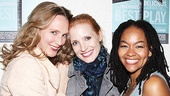 Christina Kirk and Crystal A. Dickinson happily sandwich Jessica Chastain backstage at the Walter Kerr Theatre.  