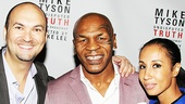 Mike Tyson is flanked by Undisputed Truth's executive producer Adam Steck and his wife Kiki Tyson, his co-writer on Undisputed Truth.