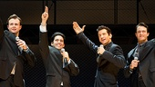 Quinn VanAntwerp as Bob Gaudio, John Lloyd Young as Frankie Valli, Andy Karl as Tommy DeVito and Matt Bogart as Nick Massi in Jersey Boys.
