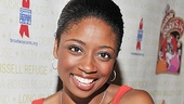 Montego Glover, star of Memphis trades Adam Pascal for a shaggier co-star, puppy Pepsi.