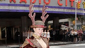 Candace Jablonski plays a few Reindeer games outside Radio City Music Hall.