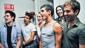 Corey Cott, David Guzman, Kara Lindsay, Jacob Guzman, Garett Hawe and Michael Fatica sing happy birthday to Jess LeProtto.