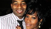 The leading duo, Brandon Victor Dixon and Valisia LeKae, get a quiet minute alone during the after-party.