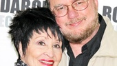Broadway legend Chita Rivera gets a big hug from Rupert Holmes, who wrote the music, lyrics and book for Drood, inspired by Charles Dickens.