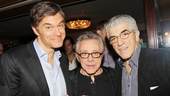 Frankie Valli gets between celebrity guests Dr. Mehmet Oz (l.) and actor Frank Vincent. 