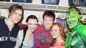 Matthew James Thomas takes a moment backstage with his Spider-Man costars Reeve Carney, Katrina Lenk as Arachne, Rebecca Faulkenberry as Mary Jane and Robert Cuccioli as Green Goblin. 