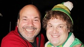 Director Casey Nicholaw (l.) helped Jordan Gelber get into the holiday spirit as Buddy the Elf.
