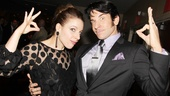 Onstage siblings Jessie Mueller and Andy Karl strike the signature pose of the exotic Landless twins.