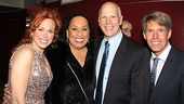 The musical's leading ladies Carolee Carmello and Roz Ryan grab a photo with Tony-winning lyricist David Zippel and his partner, set designer Michael Johnston.