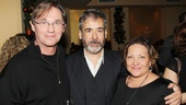 Mark Nelson receives opening night love from his Timon of Athens co-star Richard Thomas and Thomas' wife Georgiana.