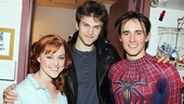 Pretty Little Liars headliner Keegan Allen congratulates Spider-Man stars Rebecca Faulkenberry and Reeve Carney.