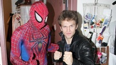 Keegan Allen strikes his best superhero pose with Reeve Carney. 