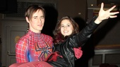 Reeve Carney gives Carly Rose Sonenclar a heroic lift backstage.