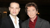 Jujamcyn Theaters President Jordan Roth congratulates Barry Manilow on his new concert event—and street sign!