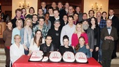 Talk about a big company! The Jersey Boys company steps in to mark the hit show's 3,000th performance. Cheers, Boys!