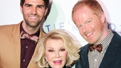 Funny lady Joan Rivers is embraced by Tie the Knot founders Justin Mikita (l.) and Jesse Tyler Ferguson at the launch of their spring collection of bow ties.