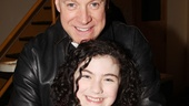 Daddy Warbucks (Anthony Warlow) and his little orphan Annie (Lilla Crawford) share a hug before recording their duets.