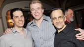 Superman title star Edward Watts embraces his onstage nemeses Will Swenson and David Pittu.