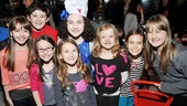 Lilla Crawford enjoys her delicious b-day party with stars of another family-friendly musical, Matilda. From left: Ava DeMary, Jack Broderick, Bailey Ryon, Sophia Gennusa, Crawford, Milly Shapiro, Oona Laurence and Emma Howard.