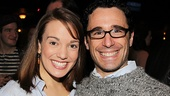 Newsies leading lady Kara Lindsay and the show's Tony-winning choreographer Christopher Gattelli flash big smiles.