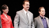 Maura Tierney, Tom Hanks and Peter Scolari take their bows on the stage at the Broadhurst Theatre.
