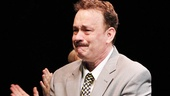 Making his Broadway debut, Tom Hanks has an emotional moment during the curtain call for Lucky Guy.