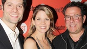 If/Then composer Tom Kitt (heading to Broadway next year), Far From Heaven star Kelli O'Hara and Michael Greif (the director of both shows!) say hello on the red carpet.