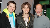 Kinky character players John Jeffrey Martin and Marcus Neville flank Reeve Carney backstage.