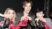 Kinky Boots leading ladies Annaleigh Ashford and Celina Carvajal join in some backstage pump fun with Reeve Carney.