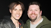 Reeve and Kinky Boots supporting actor Daniel Stewart Sherman flash big backstage grins.