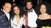 Backstage at Motown, Valisia LeKae and Brandon Victor Dixon are flanked by their real-life counterparts Berry Gordy and Diana Ross.
