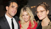 Bobby Cannavale receives a warm opening night greeting from stunning gals Ari Graynor (his co-star in 2010s Trust at Second Stage) and Margarita Levieva (looking very different than in TV&#39;s Revenge).