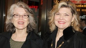 Cass Morgan and Debra Monk, who co-wrote and co-starred in Pump Boys & Dinettes, look glam outside the theater.