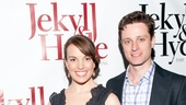 Newsies young star Joshua Colley joins his co-star Kara Lindsay and her fiancé, actor Kevin Massey, on the red carpet.