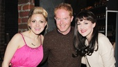 Kinky ladies Annaleigh Ashford and Celina Carvajal bookend Jesse Tyler Ferguson for a backstage photo.