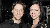 Andy Kelso and Katy Perry flash smiles backstage at Kinky Boots.
