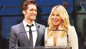 Our first pair of presenters—Glee's Matt Morrison and Ari Graynor (The Performers)—grill each other on theater trivia as they get ready to give out awards.