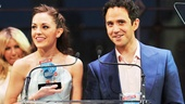 Cinderellas royal duo Laura Osnes and Santino Fontana accept their award for Favorite Onstage Pair, giving a shout-out to their awesome Broadway.com vlog &quot;The Princess Diary.&quot;