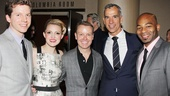 Members of the Kinky Boots family (stars Stark Sands and Annaleigh Ashford, associate choreographer Rusty Mowery and director Jerry Mitchell) grab a photo with Motown's Brandon Victor Dixon.