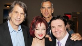 Kinky Boots set designer David Rockwell smiles with composer Cyndi Lauper and Jerry Mitchelland just for the heck of it, theres Nathan Lane!