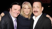 Winner Nathan Lane gets some hearty congratulations from Assembled Parties star Judith Light and Lucky Guys Tom Hanks.