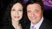 Bebe Neuwirth and Nathan Lane (with award in hand) have an Addams Family reunion at the 79th Annual Drama League Awards. Congrats, Nathan!