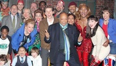 These guys! Quincy Jones gives it up for the cast of the Tony-nominated musical Kinky Boots.