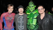 A freak like Green Goblin needs company! Still in costume, Robert Cuccioli joins Reeve Carney, The Edge and Bono.