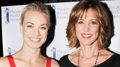 Yvonne Strahovski, a winner for her Broadway debut in Golden Boy, poses with presenter Christine Lahti.